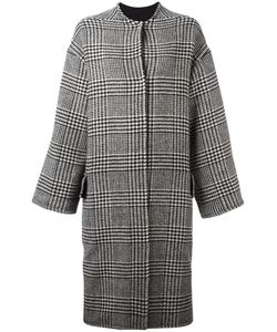 Ava Adore | Houndstooth Pattern Coat Womens Size 40 Wool/Acrylic/Rabbit Fur