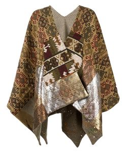 Ermanno Gallamini | Patterned Cape Womens Cotton/Viscose/Polyester/Virgin Wool