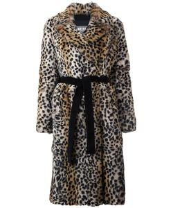Meteo By Yves Salomon   Leopard Print Mid Coat Womens Size 38