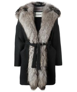 Ava Adore | Fur Trim Coat Womens Size 42 Wool/Acrylic/Acetate/Raccoon Dog