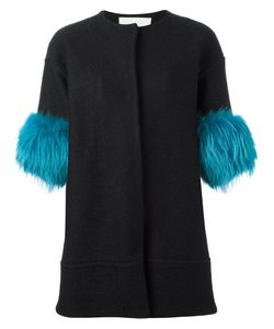 Ava Adore | Fur Sleeves Coat Womens Size 42 Wool/Acrylic/Raccoon Dog