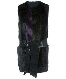 Blancha | Sleeveless Striped Jacket Womens Size 42 Sheep Skin/Shearling/Beaver Fur/Cupro/Polyurethane