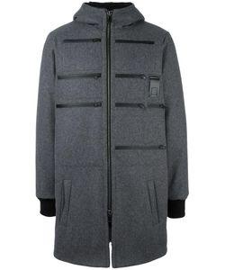 Letasca   Zip Detail Hooded Coat Mens Size Xl Wool