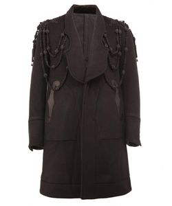 The Soloist | Embroidered Panelled Coat Mens Size 48 Lamb Skin/Cupro/Cashmere/Wool