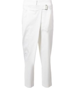 Kaufmanfranco | Belted Cropped Straight Trousers Womens Size 6 Spandex/Elastane/Wool/Silk