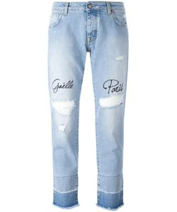 Gaelle Bonheur   Distressed Embroidered Jeans Womens Size 29 Cotton