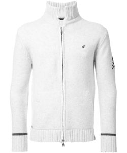 Loveless | Ribbed Detailing Zipped Cardigan Mens Size 3 Lambs Wool