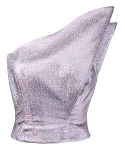 Vika Gazinskaya | Metallic One Shoulder Top Womens Size 36 Polyester/Silk