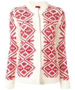 Moncler Gamme Rouge   Geometric Pattern Cardigan Womens Size 40 Alpaca/Polyamide/Mohair/Wool
