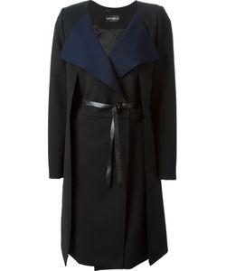 Lutz Huelle | Contrast Lapels Belted Coat