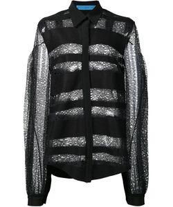 Jonathan Cohen | Transparent Striped Pattern Shirt Womens Size Medium Polyester