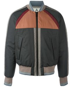 Andrea Pompilio | Striped Detailing Bomber Jacket Mens Size 50 Polyester