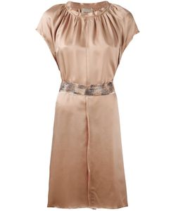 Nude | Pleated Trim Belted Dress Womens Size 40 /Neutrals Viscose