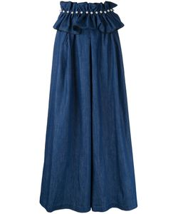 Huishan Zhang | Belted Denim Palazzo Pants Womens Size 8 Cotton/Polyester