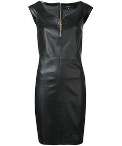 Jitrois | Zip Trim Mini Dress Womens Size 40 Leather/Cotton/Spandex/Elastane
