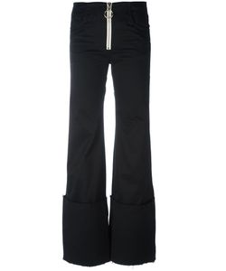 Off-White | Exaggerated Hem Trousers Womens Size Small Cotton/Spandex/Elastane