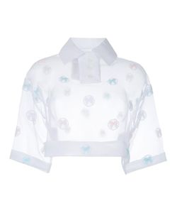 Jenny Fax | Sheer Cropped Polo Top Womens Size Medium Polyester