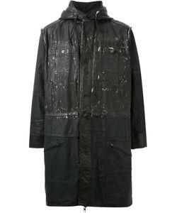 Longjourney   Distressed Paneled Hooded Coat