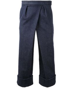Fad Three | Front Pleat Cropped Trousers Mens Size Small Cotton/Polyurethane