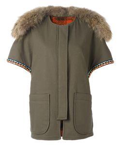 Forte Couture | Fur Collar Coat Womens Size 40 Cotton/Spandex/Elastane/Virgin Wool/Racoon