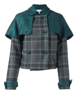 Daizy Shely | Double-Breasted Plaid Jacket Womens Size 42 Wool/Acetate/Polyamide