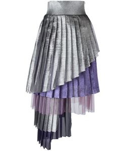 Daizy Shely | Asymmetric Pleated Skirt Womens Size 42 Grey Acetate/Polyester/Polyamide