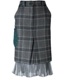 Daizy Shely | Silver-Tone Detailing Plaid Skirt Womens Size 44 Wool/Acetate/Polyamide/Polyester