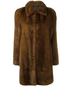 Blancha | Buttoned Mid Coat Womens Size 42 Mink Fur/Viscose