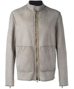 Salvatore Santoro | Banded Collar Zipped Jacket Mens Size 46 Leather/Cotton