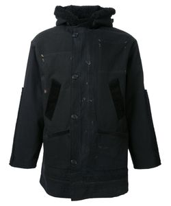 Longjourney   Duffle Jacket Mens Size Large Cotton/Calf Leather