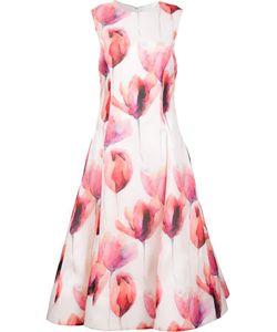 Christian Siriano | Floral Flared Dress Womens Size 12 Silk