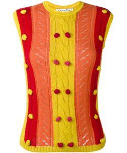 Christian Dior Vintage | Knitted Pom Pom Embellished Vest Womens Size 38