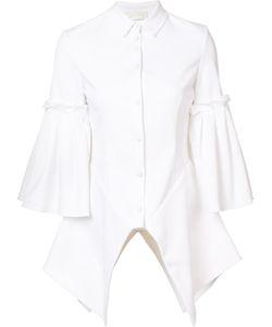 Christian Siriano | Pleated Flounce Shirt Womens Size 6 Cotton/Acetate