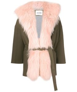 Ava Adore | Three-Quarters Sleeve Coat Womens Size 40 Cotton/Spandex/Elastane/Raccoon Dog