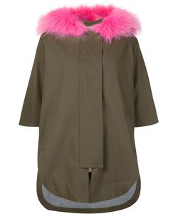 Ava Adore | Three-Quarters Sleeve Hooded Coat Womens Size 42 Cotton/Spandex/Elastane/Raccoon