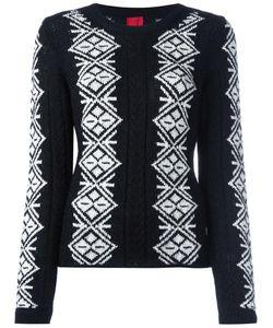 Moncler Gamme Rouge   Ethnic Motif Jumper Womens Size 44 Wool/Mohair/Polyamide