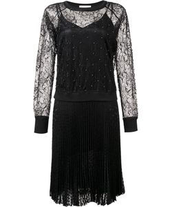 Loyd/Ford | Lace Panel Pleated Dress Womens Size 8 Nylon/Polyester/Silk