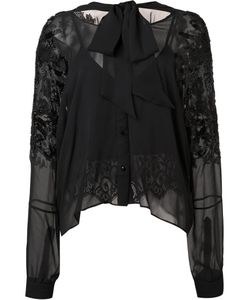 Loyd/Ford | Embellished Sleeves Sheer Blouse Womens Size 2 Silk