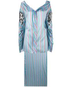 Esteban Cortazar | Striped Asymmetric Shirt Womens Size 34 Silk/Polyester/Acrylic/Cotton
