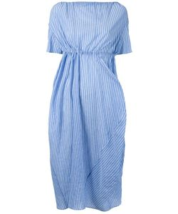 Assin | Striped Draped Mid Dress Womens Size Large Cotton