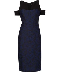 J. Mendel   Jacquard Cut-Off Shoulders Dress Womens Size 10 Silk