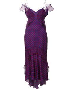 J. Mendel   Dots Print Ruffled Dress Womens Size 8 Silk