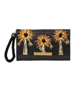 Lizzie Fortunato Jewels   Floral Detail Clutch Womens Leather/Straw/Sequin
