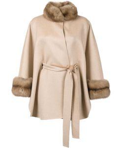 J. Mendel   Fur Detailing Belted Cape Womens Cashmere/Sable