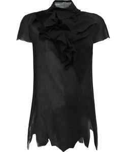 Aganovich | Ruffled Front T-Shirt Womens Size 38 Cotton