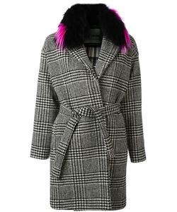 Ava Adore | Detachable Collar Houndstooth Coat Womens Size 40 Wool/Raccoon Dog/Polyester/Viscose