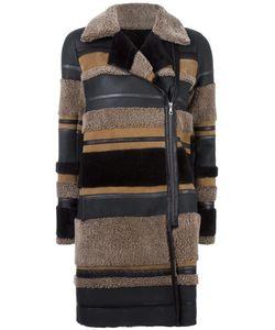 Yves Salomon | Panelled Coat Womens Size 42 Lamb Skin/Lamb Fur
