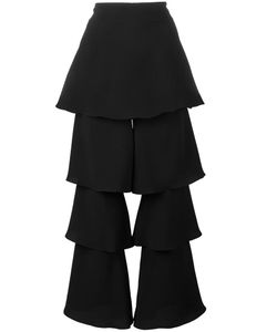Osman | Tiered Cropped Trousers Womens Size 12 Viscose/Triacetate/Polyester
