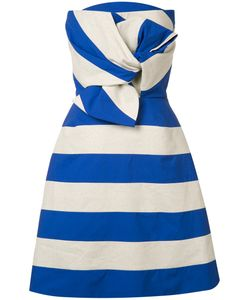 Delpozo | Striped Bow Dress Womens Size 38 Cotton/Polyester/Linen/Flax