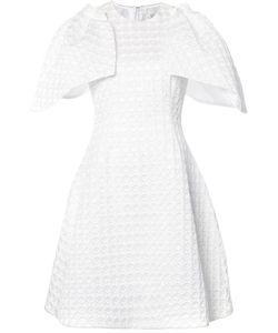 Christian Siriano | Ruffled Sleeves Textured Dress Womens Size 10 Silk/Acetate/Polyester/Acrylic